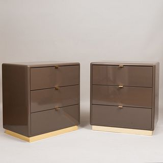 Pair of Steve Chase Light Brown Lacquer and Brass Nightstands