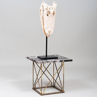 Crocodile Skull Trophy and Marble Gilt-Metal Marble Top Table