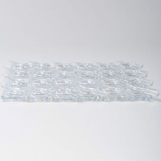 Twenty-Four Baccarat Glass Knife Form Rests and Twenty-Four Butter Pats