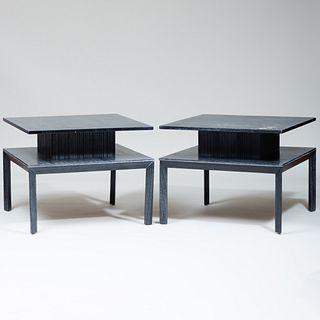 Pair of Large Brown-Saltman Cerused Oak End Tables