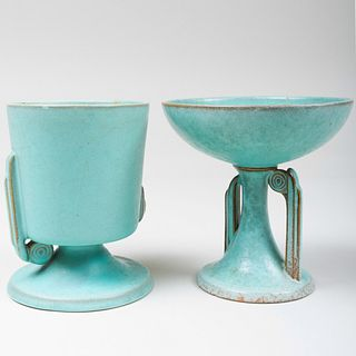 Two Roseville Pottery Glazed 'Moderne' Vessels