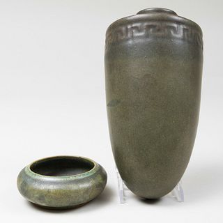 Fulper Pottery Small Green Glazed Dish and a Wall Pocket
