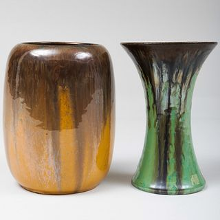 Two Fulper Pottery Iridescent Glazed Vessels
