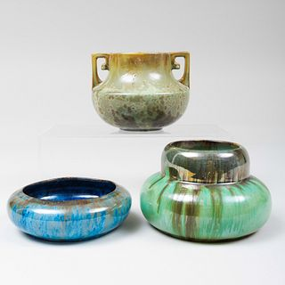 Group of Three Fulper Pottery Crystaline and Iridescent Glazed Vessels