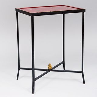 Contemporary Metal and Trompe L'oeil Painted Side Table