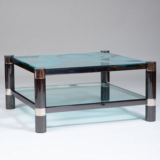 Karl Springer Polished Gunmetal, Chrome and Custom Carved Joe Sporr Glass Two-Tier Low Table