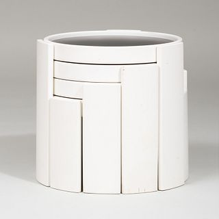 Modern Composite and Painted Wood Nesting Tables