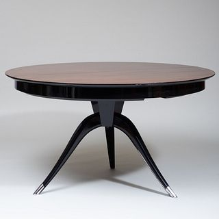 Italian Rosewood and Ebonized Extension Dining Table, in the Manner of Ruhlmann