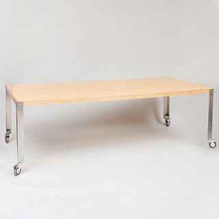 Large Metal-Mounted Maple Dining Table