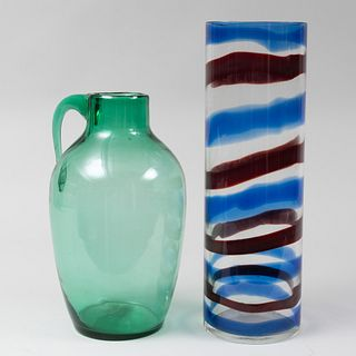 Blenko Green Glass Vessel with Handle and a Striped Venini Glass Cylindrical Vase