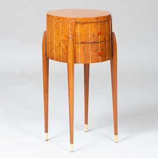 Art Deco Burl Wood and Composite Side Table