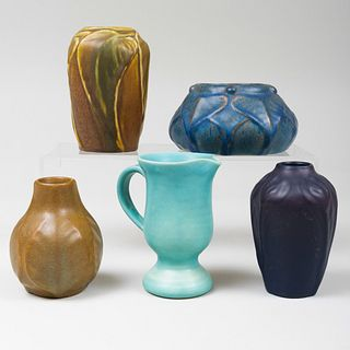 Group of Five Van Briggle Pottery Glazed Vessels