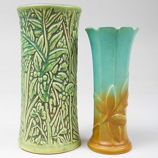 Two Weller Pottery Vases Molded with Leaves