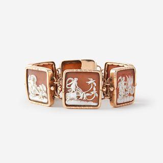 A cameo and low karat gold bracelet,