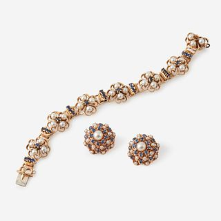 A fourteen karat gold, sapphire, and cultured pearl bracelet with matching ear clips,
