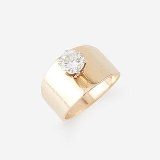 A fourteen karat gold and diamond ring,