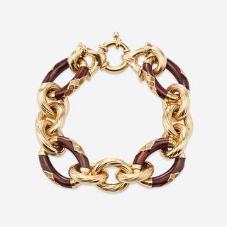 An eighteen karat gold and enamel bracelet,