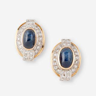 A pair of sapphire, diamond, and fourteen karat gold earrings,