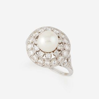 A pearl, diamond, and platinum ring,