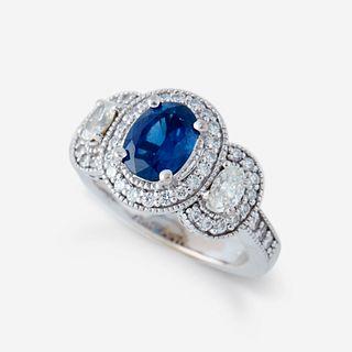 A sapphire, diamond, and eighteen karat white gold ring,