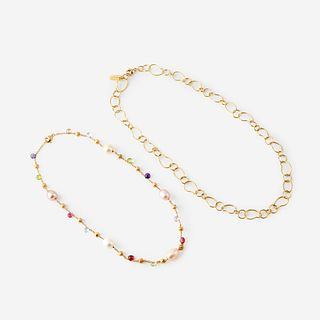 Two eighteen karat gold necklaces, Marco Bicego and Ippolita,