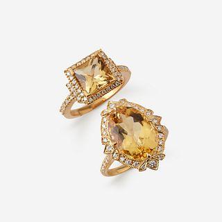 Two yellow beryl, diamond, and eighteen karat gold rings,