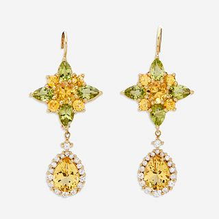 A pair of peridot, yellow sapphire, yellow beryl, and eighteen karat gold earrings,