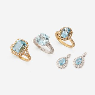 A collection of aquamarine and diamond jewelry,