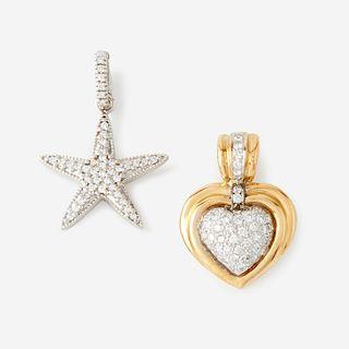Two eighteen karat gold and diamond pendants,