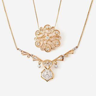 Two fourteen karat gold and diamond pendant necklaces,