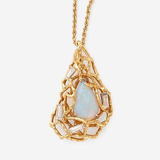An opal, diamond, and eighteen karat gold pendant,