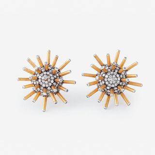 A pair of eighteen karat gold and diamond earrings,