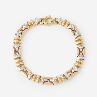 A tri-color eighteen karat gold and diamond bracelet,
