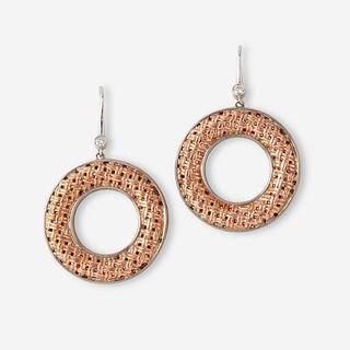 A pair of eighteen karat gold, fourteen karat white gold, sterling silver, and diamond earrings, Charles Krypell,