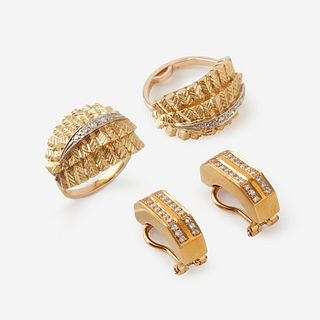 A collection of gold and diamond jewelry,