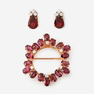 A fourteen karat gold, tourmaline, and diamond suite,