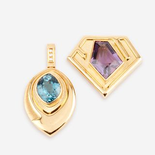 A collection of two gem-set, diamond, and eighteen karat gold pendant/brooches, Bruno Guidi, Brazil