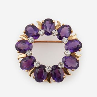 An amethyst, diamond, and fourteen karat gold brooch, Tiffany & Co.,