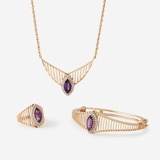 A fourteen karat gold, amethyst, and diamond suite,