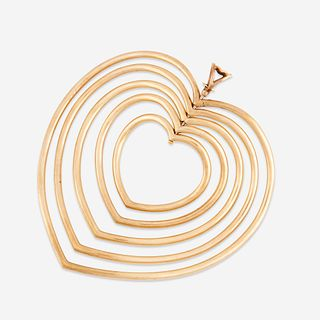 "A gold-plated brass pendant, Yaacov Agam, ""Beating Heart"""