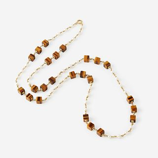 A tiger's eye quartz, cultured pearl, and eighteen karat gold necklace,