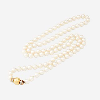 A cultured pearl, eighteen karat gold, and diamond necklace,