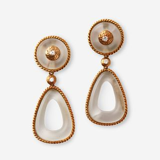 A pair of eighteen karat gold, diamond, and glass earrings,