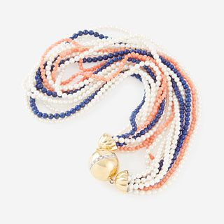 A cultured pearl, coral, lapis lazuli, diamond, and eighteen karat gold necklace,