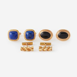 A collection of three pairs of gold cufflinks,