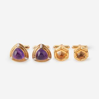 Two pairs of gold, quartz, and diamond cufflinks,