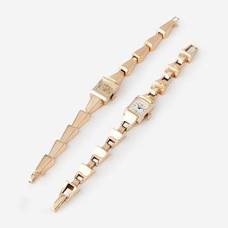 A collection of two fourteen karat gold ladies watches,