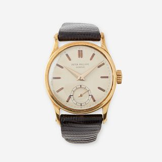 An eighteen karat gold strap wristwatch, Patek Philippe, Calatrava, circa late 1930's