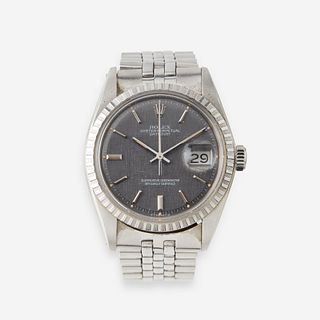 A stainless steel automatic, bracelet wristwatch with date, Rolex, Datejust, circa 1973