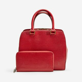 A red epi leather handbag and matching wallet, Louis Vuitton, Pont Neuf PM, Paris